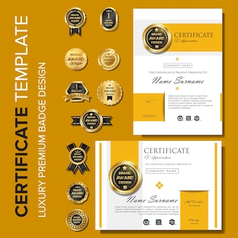Modelo de design moderno certificado com distintivo