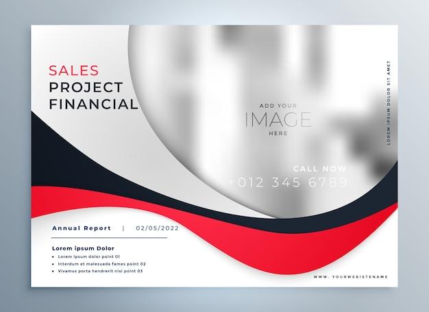 Modelo de design moderno de apresentação de negócios ondulado em vermelho