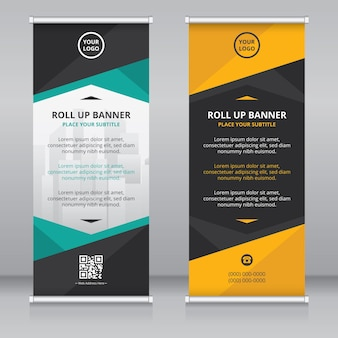 Modelo de design moderno de banner enrolado