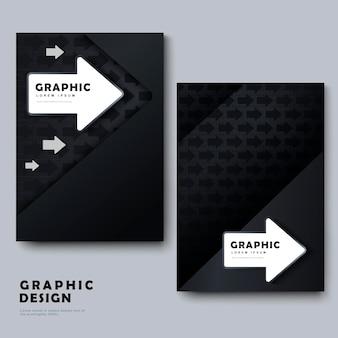 Modelo de design moderno de brochura com elemento de seta em preto e branco