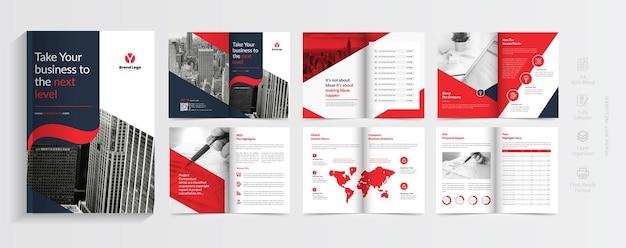 Modelo de design moderno de brochura com formas gradientes vermelhas design de brochura comercial de várias páginas