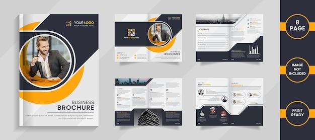 Modelo de design moderno de brochura corporativa de 8 páginas com formas de cor preta e amarela