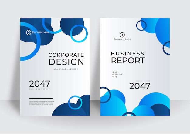 Modelo de design moderno de capa azul. projeto de layout do modelo de folheto. relatório anual de negócios corporativos, catálogo, revista, maquete de folheto. círculo de forma redonda de conceito criativo moderno brilhante