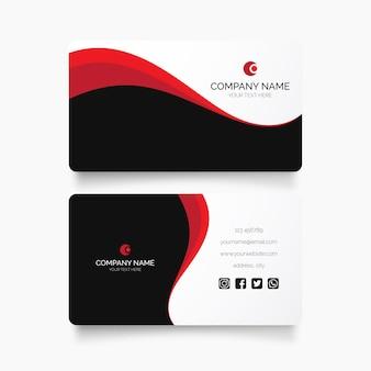 Modelo de design moderno de cartão de visita com ondas vermelhas