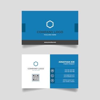 Modelo de design moderno de cartão de visita minimalista azul e branco vetor premium