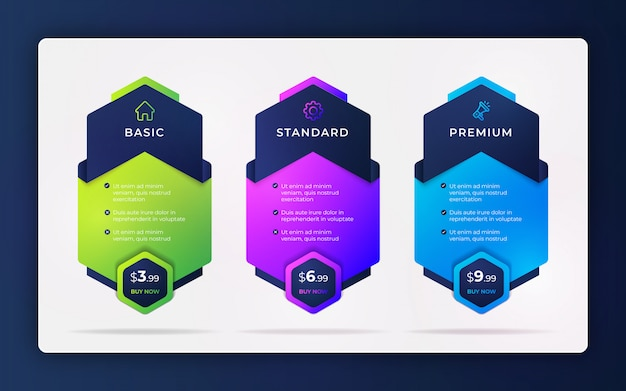 Modelo de design moderno de comparação de preços lista criativa ou elementos de design infográfico