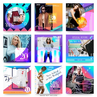 Modelo de design moderno de mídia social de venda de moda