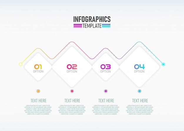 Modelo de design moderno infográfico com 4 opções.