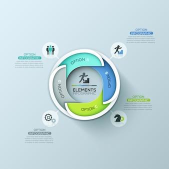 Modelo de design moderno infográfico redondo com 4 elementos sobrepostos com letras