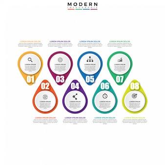Modelo de design moderno infográfico timeline.