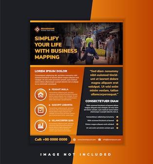 Modelo de design moderno laranja e preto para panfleto comercial design gráfico usa layout vertical