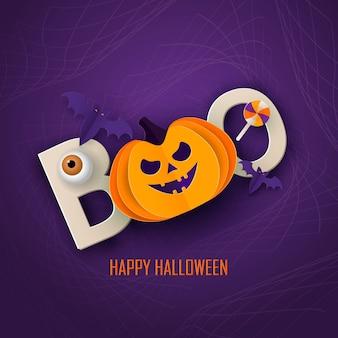 Modelo de design moderno mínimo de halloween para site, banner de saudação ou promo, folheto de estilo de corte de papel com abóbora bonita e outros elementos tradicionais de halloween em fundo escuro.