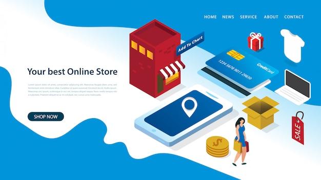 Modelo de design moderno página de destino com ilustração vetorial de uma mulher compras on-line com elementos