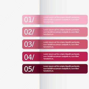 Modelo de design moderno para linesvector horizontal de bandeiras numeradas