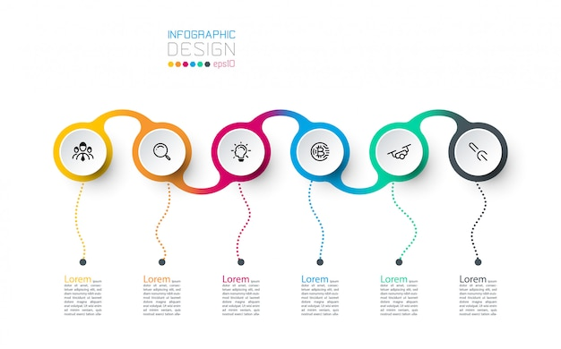 Modelo de design moderno usar para infográficos, 7 etapas.