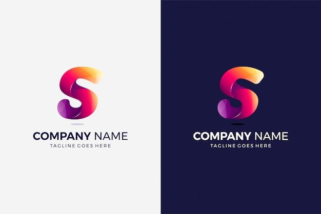 Modelo de design multicolor gradiente inicial de logotipo moderno letra s
