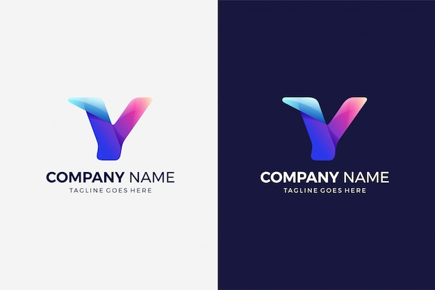 Modelo de design multicolor gradiente inicial do logotipo moderno letra y