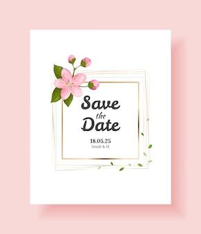 Modelo de design ou cartão de convite de casamento floral de luxo com ramo de sakura e flores.