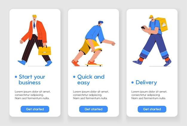 Modelo de design para a página do aplicativo móvel com o conceito de iniciar seu negócio