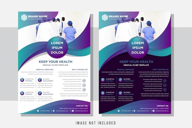Modelo de design para brochura. layout horizontal do folheto moderno com tamanho de uso de cor gradiente roxo azul a4.