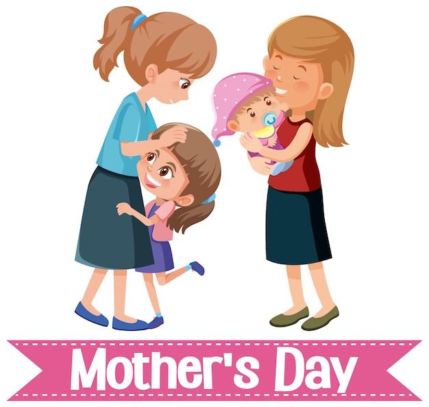 Modelo de design para o dia das mães feliz com mães e filhos