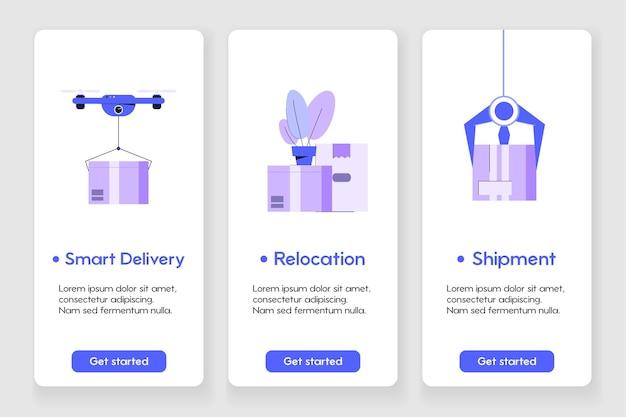 Modelo de design para página de aplicativo móvel com conceito de entrega e realocação