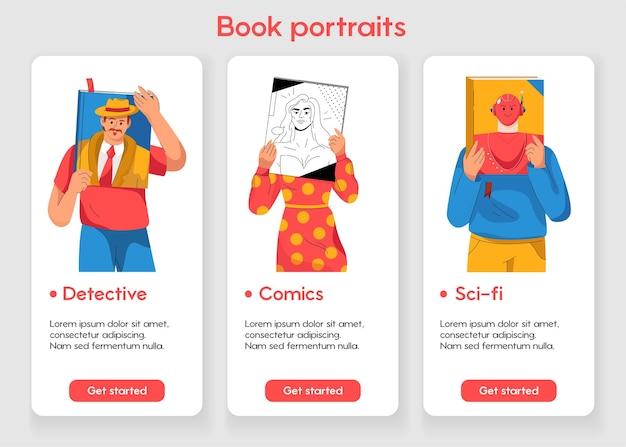 Modelo de design para página de aplicativo móvel com conceito de retrato de livro Vetor Premium