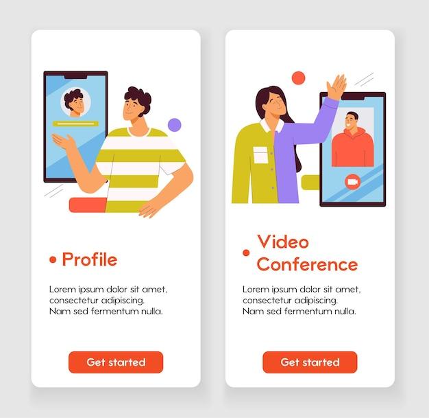 Modelo de design para página de aplicativo móvel com design de interface de aplicativo