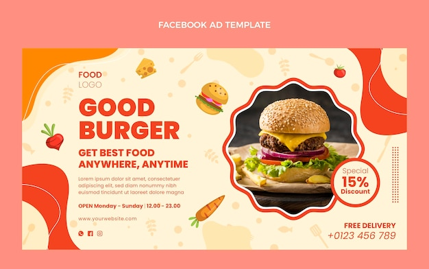 Modelo de design plano bom hambúrguer no facebook