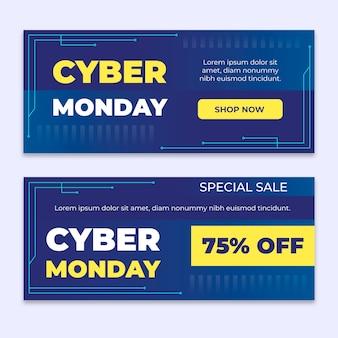 Modelo de design plano cyber segunda-feira banners