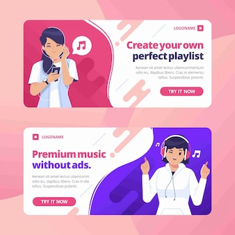 Modelo de design plano de banner de música