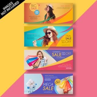 Modelo de design plano de banner de venda e anúncio