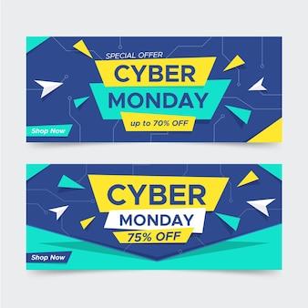 Modelo de design plano de banners cibernéticos