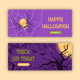 Modelo de design plano de banners de halloween