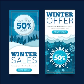 Modelo de design plano de banners de inverno