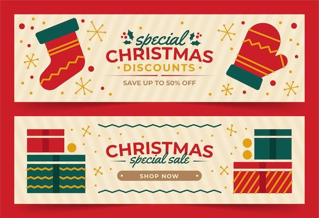 Modelo de design plano de banners de natal