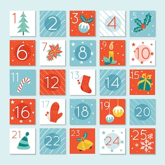 Modelo de design plano de calendário do advento