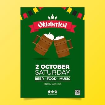Modelo de design plano de cartaz da oktoberfest