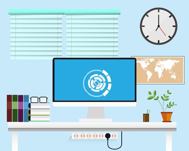 Modelo de design plano de escritório criativo