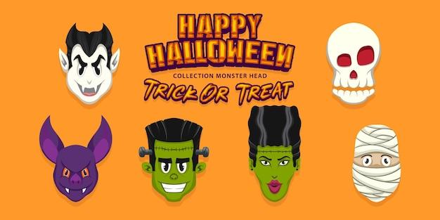 Modelo de design plano de halloween da coleção de monstros