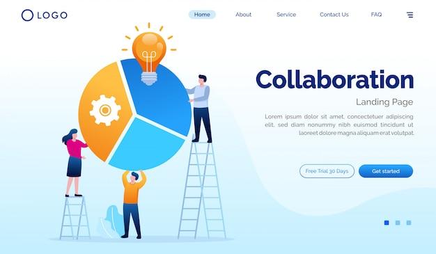 Modelo de design plano de ilustração de site de página de destino de colaboração