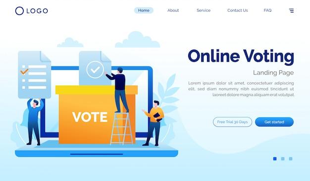 Modelo de design plano de ilustração de site de votação online página de destino
