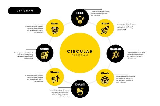 Modelo de design plano de infográfico de diagrama circular