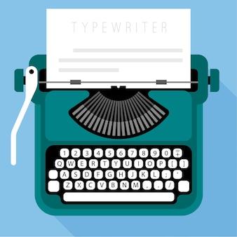 Modelo de design plano de máquina de escrever