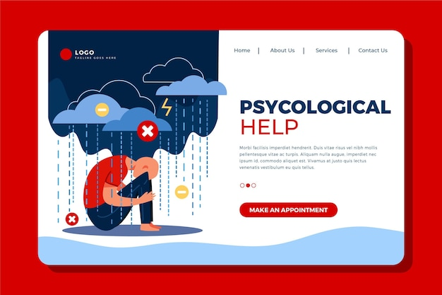 Modelo de design plano de página de destino de ajuda psicológica