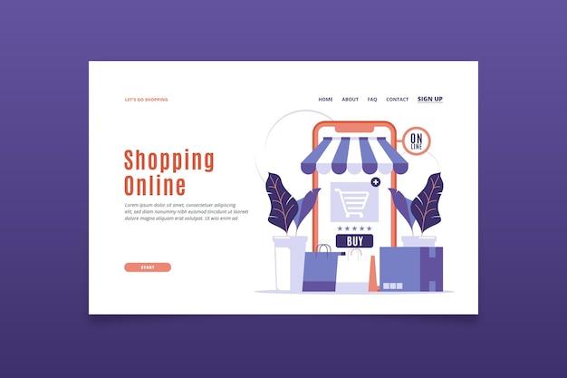 Modelo de design plano de página de destino de modelo on-line de compras