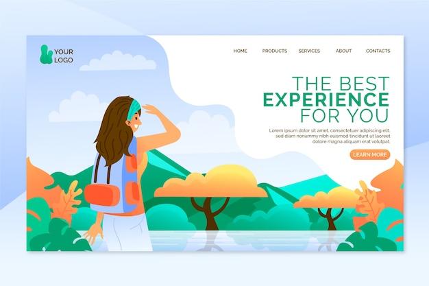 Modelo de design plano de página de destino de viagem