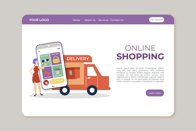 Modelo de design plano de página de destino on-line de compras
