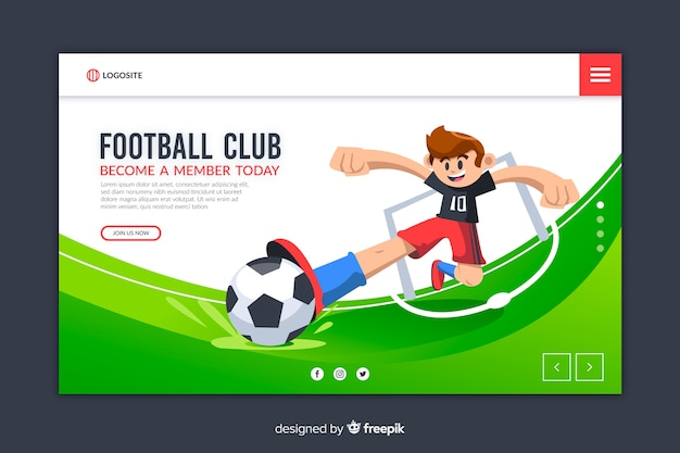 Modelo de design plano de página inicial de esporte