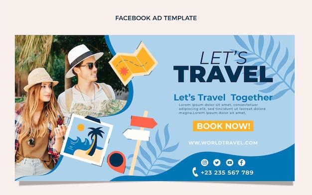 Modelo de design plano de viagens no facebook